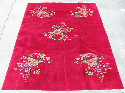 Old Art Deco Chinese rug hand knoted wool pile 1930's red 8.8x11.3 #5783