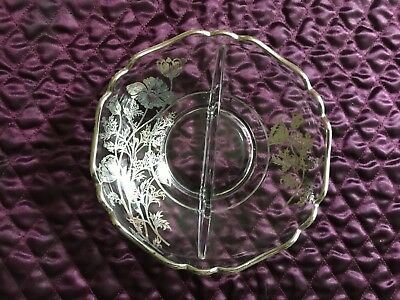 Vintage Floral Silver Overlay Clear Glass Bowl /Candy / Relish