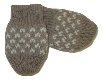 PEX Knitted Baby Mittens Brown & White Pink & White (0-6 Months One Size)