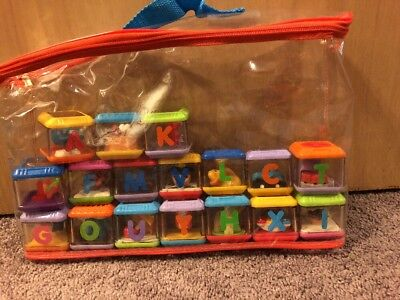 Fisher Price Peek A Boo Blocks Lot 17 Alphabet  Animals Plane Car Carrying Case