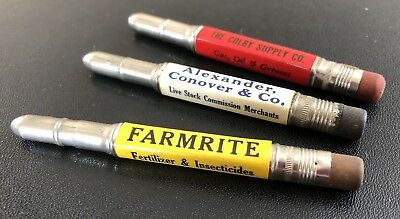 Vintage Bullet Pencils Farmrite, Milton PA, Chicago, Avery Combines, Used