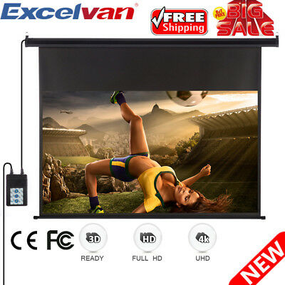 100'' 16:9 Electric Motorized Projector Projection Screen Home Theater Cinema