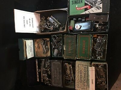 Vintage lot of 8 boxes singer, rotary ,buttonholed sewing machine attachments
