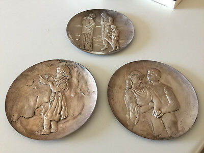 ".999 Silver Hamilton Mint ""Tribute to Picasso"" Plates The Lovers Christmas THREE"