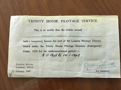 Estate Sale! Trinity House UK Pilot Temporary Licence 1945-9 and pilot record