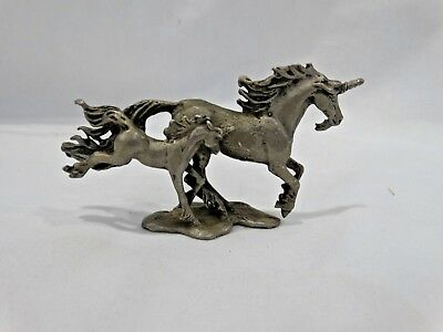 "Pewter UNICORN Mother & Baby 2"" x 3 1/2"" Figurine Sculpture"