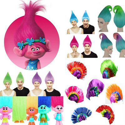 Kids Adults Trolls Poppy Mohawk Elf/Pixie Cosplay Cos Hair Wigs Hairpiece Funny