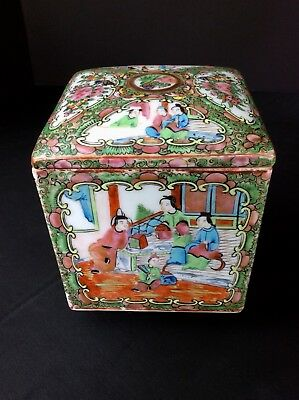 Antique Chinese Rose Medallion Porcelain Square Tea Caddy Box