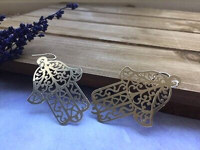 Silver Plated Filigree Hamsa Hand Earrings With Sterling Silver Hooks