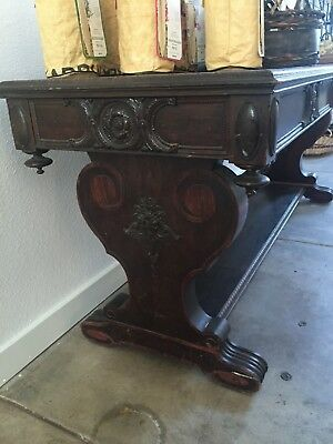 Library Table - Vintage Wood w/Carvings
