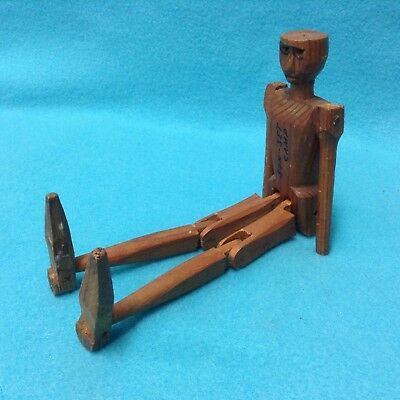 "9"" Primitive Folk Art Carved Whittled Wood Man Doll Jointed Arms & Legs"