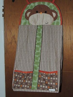 Kidsline Jungle Walk Monkey Diaper Stacker Pockets Green Orange Brown