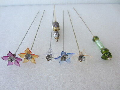 7 Antique Vtg Hatpins Hat Pins  with Glass Beads and glass Flower Lot