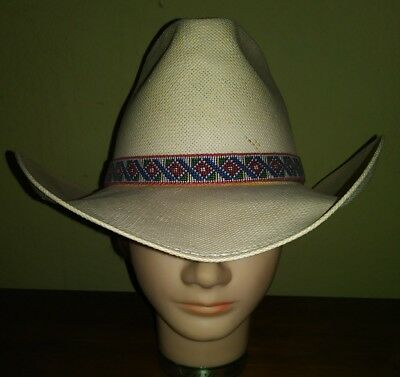 VINTAGE Stetson Cowboy Hat Natural Colby Size 7 Ranch Work Native American  Band 798b2423280a