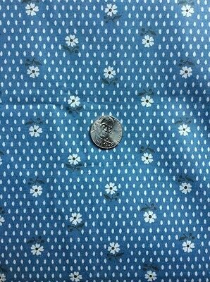 Vintage Cotton Small White Flower On Soft Blue  3 1/2 Yds For Sewing, Quilting