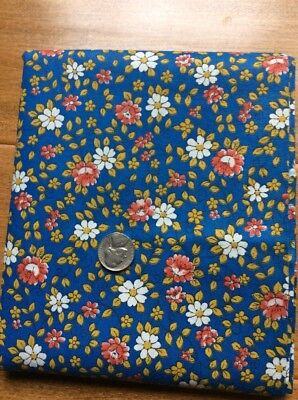"1 3/4 Yds 35"" Wide Vintage Cotton Red Flowers White Daisies On Blue Back"