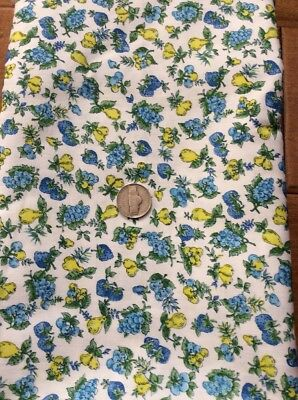 2 Yds Darling Vintage Cotton Blueberries/yellow Pears On White By J. Manes Co.