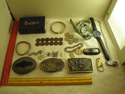 vintage junk drawer lot,jewelry,sterling,coins,watches,belt buckles,knife,penny