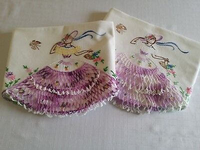 "Vintage ""Southern Belle""Pillowcases One in Purple & One in Lilac. Crochet & Emb-"