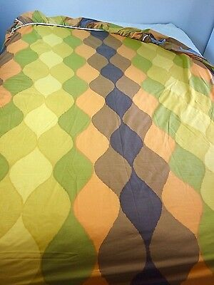 Vtg 70s Full Fitted Sheet Mod Pattern Orange Green Brown Double Retro Hipster