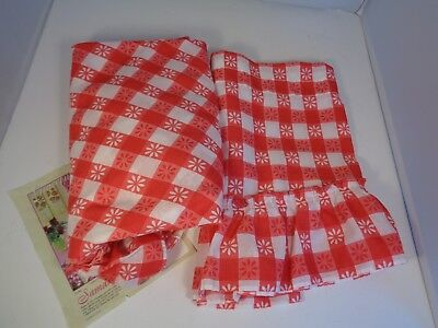 Vintage Red White Tablecloth VALANCE Floral Gingham 60 Round Ruffle Farmhouse