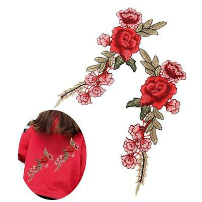 2Pcs/Set Embroidery Flower Sew Iron Badge Red Rose Clothes Fabric Applique w/