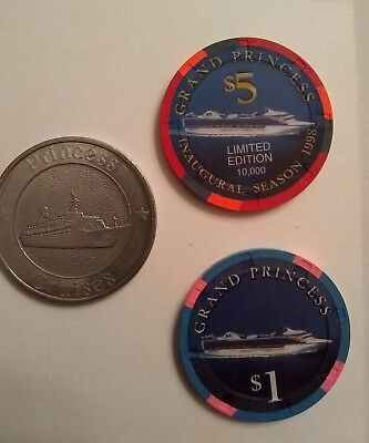 Grand Princess 3 chips;  $1, $5 and $1 metal casino chip token