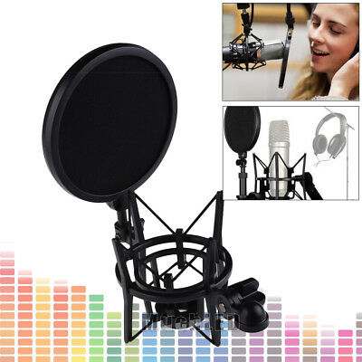 Double Layer Studio Microphone Mic Wind Screen Mask Big Integrated Pop Filter US