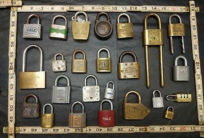 Lot Of 24 Vintage Antique Padlocks Yale Reese Slaymaker Fraim Corbin Master +