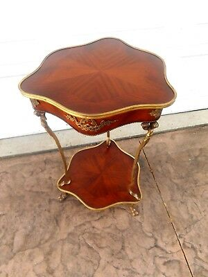 Vintage French Louis XVI Rococo Style Inlay Wood & Brass Side Accent Lamp Table