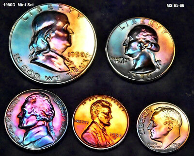 1950D Franklin High grade Mint set (5) with Holder Full Stage Toned 7 10 1