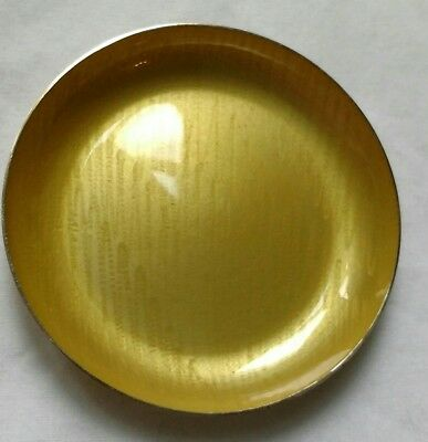 J Tostrup Norway Sterling yellow stripe enamel gilt pin dish 1950's hallmarked