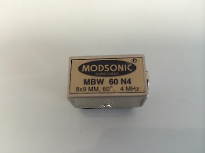 NDT Modsonic MBW 60 N4 Ultrasonic Transducer, 8x9 MM 60deg 4 Mhz, Lemo Connector