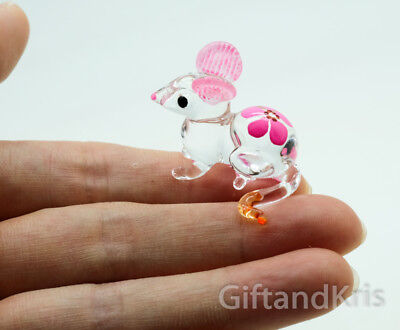 Figurine Animal Hand Blown Glass Miniature Pink Flower Rat Mouse Mice - GPRA009