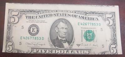1988 $5 Note * Series A * Major Miscut * Error Note * Crisp and Clean *