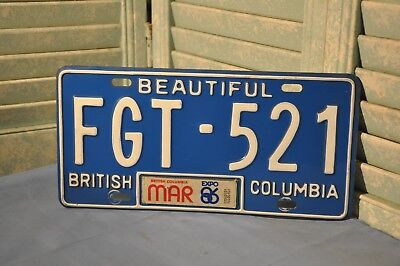 British Columbia Single 1986 License Plate FGT-521 Collectible Vintage Canada