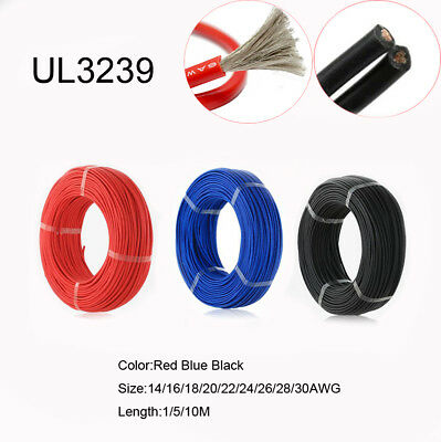 Silicone Wire Cable UL3239 14 16 18 20 22 24 26 28 30 AWG Soft Electronic Wire