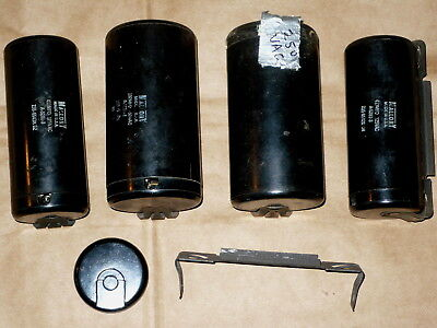 Mallory Motor Starting Capacitors ~Lot Of 4 ~Plus Extra Cap And Mounting Bracket