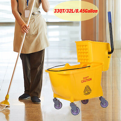 Rolling Mini Side Press Mop Bucket with Wringer 33qt / 8.45 Gallons/32L Yellow C