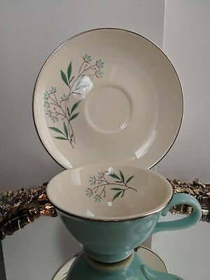 Vintage Mid Century Footed Teacup & Saucer-Petal Lane-Taylor Smith