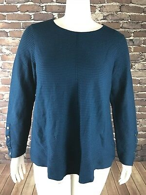 f280e57157 New Alfani Womans Ribbed Snap-Detail Sweater Teal Stretch Long Sleeve 2X NWT