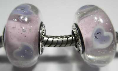 2 Authentic Pandora Silver 925 Disney Anna Pink Frozen Glass Beads Charms 791745