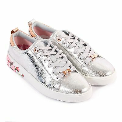 842b51794 TED BAKER WOMEN S Luoci Crackle Leather Lace Up Trainer Silver ...