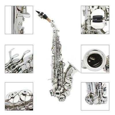 LADE Messing Carve Muster Bb Bend Althorn Sopran Saxophon Sax NEW Silber Q9P6