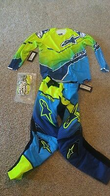 Alpinestars Techstar Venom Pant Jersey Glove 28 medium yellow cyan blue gear set