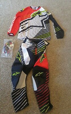 Alpinestars Racer braap Pant Jersey Glove set, 32 large red black white gear set