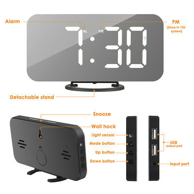 "6.5"" LED Alarm Clock with Dual USB Ports Dimmable Brightness Mirror Clock"