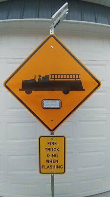 Solar Powered Wireless Controlled Fire Department Truck X-ing Emergency Sign