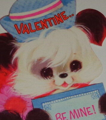 "Vintage Valentine greeting card, cute puppy dog wearing hat, 7 1/4"" used"