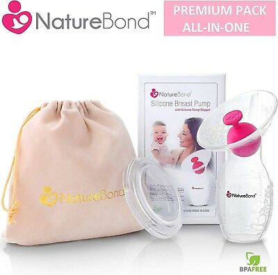 NatureBond Silicone Manual Breast Pump Breastfeeding Milk Saver Suction | Bonus